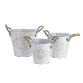 Lot de 3 seaux en zinc blanc anses en corde D20xH17cm