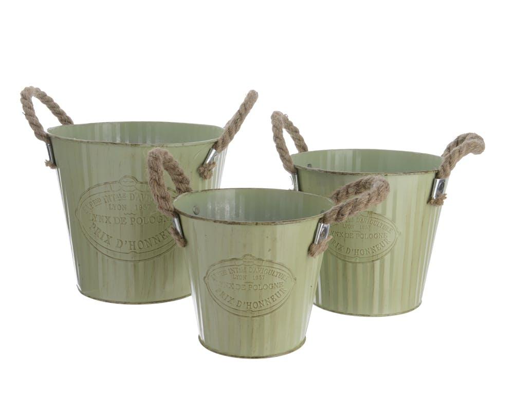 Lot de 3 seaux en zinc vert anses en corde D20xH17cm