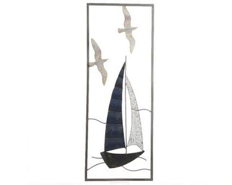Décoration murale en métal voilier et mouettes 28x74cm