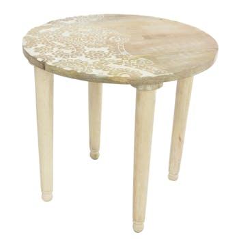 Table d'appoint ronde en manguier naturel blanchi D48xH43cm