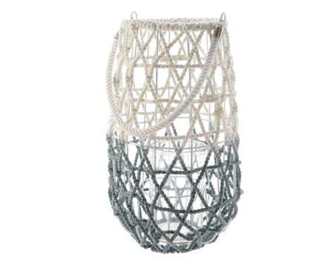 Lanterne à anse en corde et coton blanc et gris D25xH44cm