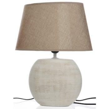 Lampe en céramique claire sable 20x31x40cm
