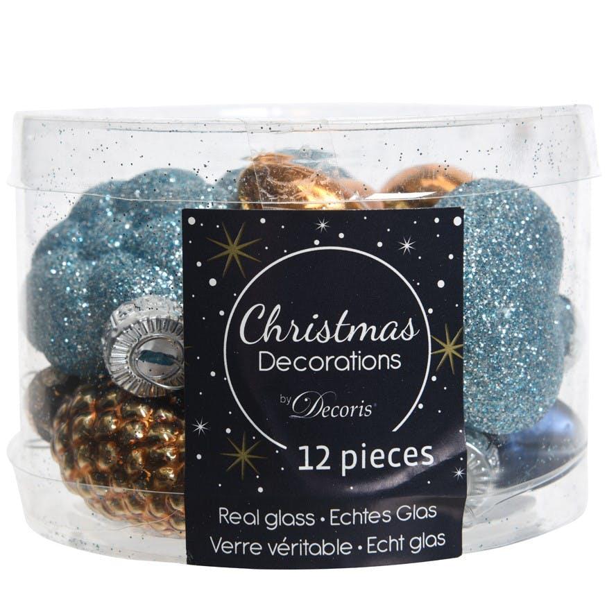 """Pack de 12 décorations de noël """"Winter"""" coloris bleu et paillettes"""