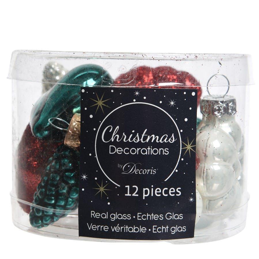 """Pack de 12 décorations de noël """"Santa"""" coloris rouge et paillettes"""