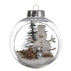 Boule de noël transparente avec décor Bonhomme de neige D8cm