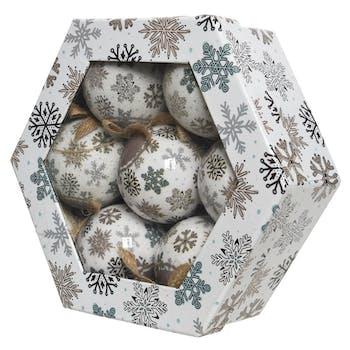 Boite cadeau Décoration de noël boules mousse décor Flocon de neige