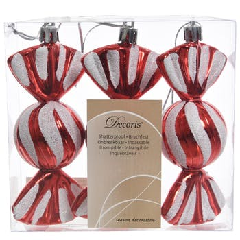 Décoration bonbon à suspendre blanc et rouge 11cm