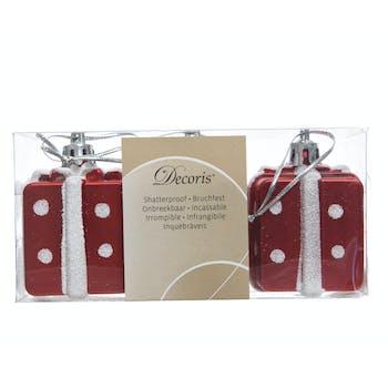 Décoration Paquet cadeau à suspendre blanc et rouge 6cm