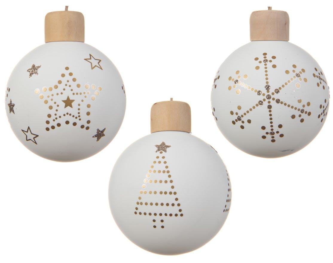 Lot de 3 boules de noël blanches décor doré D8cm