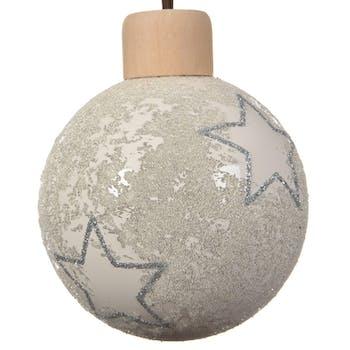Lot de 3 boules de noël blanc cassé avec décor étoiles D8cm