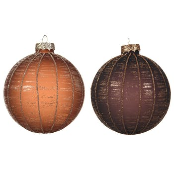 Lot de 3 boules de noël tons marrons D8cm