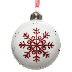 Lot de 3 boules blanches et décor rouge D8cm