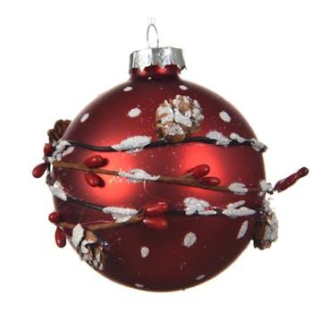 Boule de noël rouge décor en relief pomme de pin D8cm