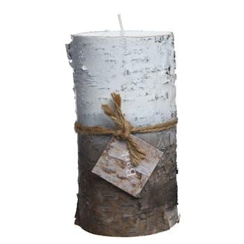 Bougie tronc de bouleau blanc et naturel 14cm