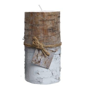Bougie tronc de bouleau naturel et blanc 14cm