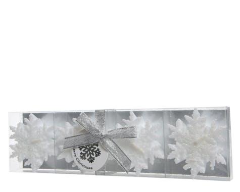 Lot de 4 bougies Flocons de neige blancs à paillettes D6cm
