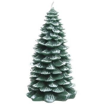 Bougie forme Sapin vert et givre blanc 18cm