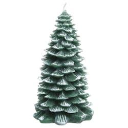 Bougie forme Sapin vert et givre blanc 12cm