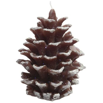 Bougie forme Pomme de pin et givre 9cm
