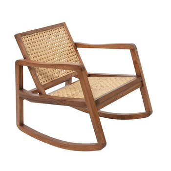 Rocking chair bois et rotin 80x65x77xcm