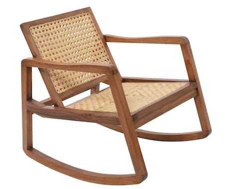 Rocking chair bois et rotin 80x65x77xcm
