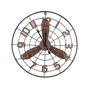 Horloge murale Hélice en métal couleur rouille D49cm