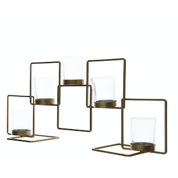 Photophore centre de table en métal doré 5 pots 50cm