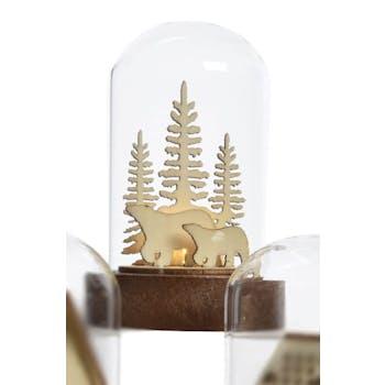 Dôme de verre avec décor Ours de noël avec LED 9cm