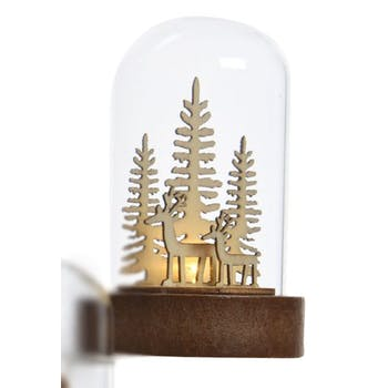 Dôme de verre avec décor Renne de noël avec LED 9cm