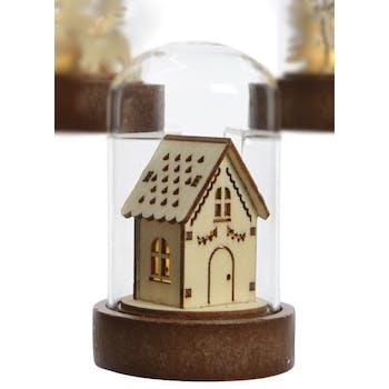 Dôme de verre avec décor Maison basse avec LED 9cm