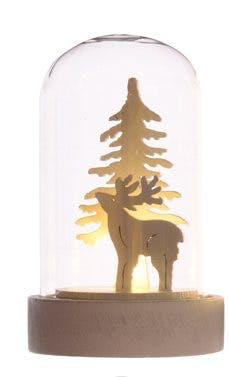 Dôme de verre avec décor Cerf avec LED 9cm
