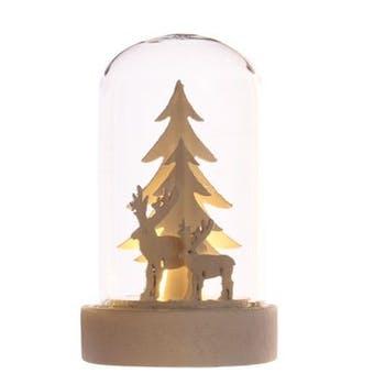 Dôme de verre avec décor Renne avec LED 9cm