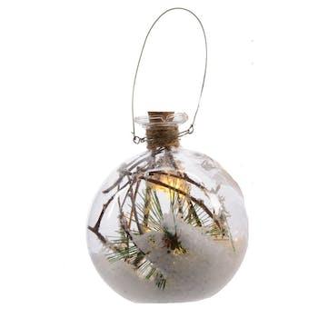 Boule en verre avec LED décor branche et pomme de pin D10cm