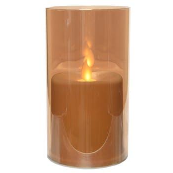 Bougie LED flamme effet vacillant en verre doré 15cm