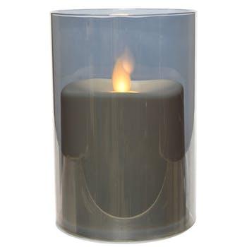 Bougie LED flamme effet vacillant en verre gris fumé 12cm