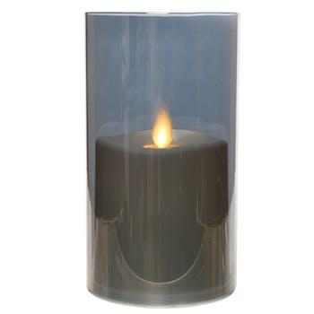 Bougie LED flamme effet vacillant en verre gris fumé 15cm