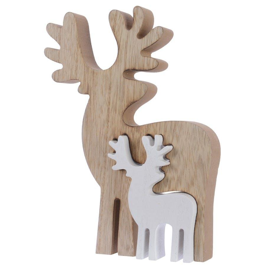 Décoration de noël Rennes en bois encastrés naturel et blanc 18cm