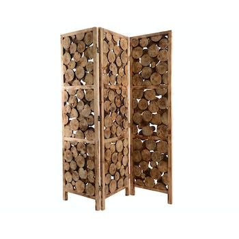 Paravent en rondins de bois
