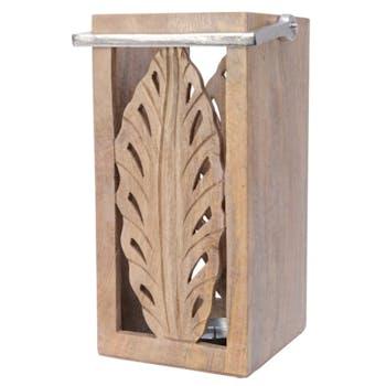 Lanterne en bois de Mangue décor feuille ciselé poignée métal H36cm
