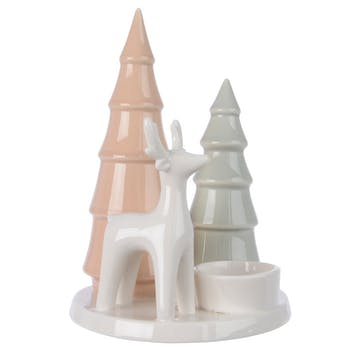 Photophore en porcelaine Sapins et Renne 18cm