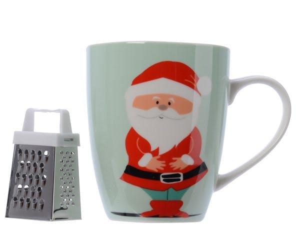 Mug en porcelaine décor Père Noël avec rape à chocolat 10cm