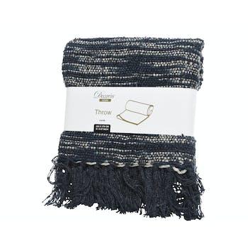 Plaid en coton tricoté à frange bleu foncé et blanc 130x170cm