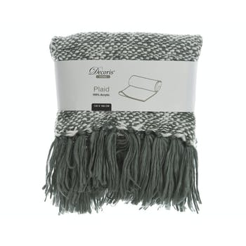 Plaid en coton tricoté à frange gris et blanc 130x170cm