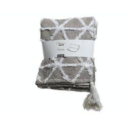 Plaid en coton motifs triangle beige et blanc 130x150cm