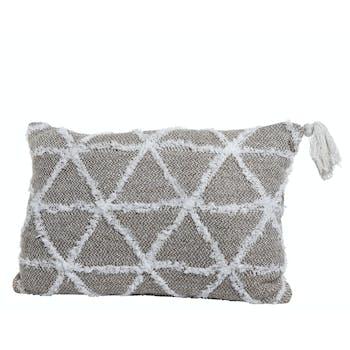 Coussin en coton motifs triangle beige et blanc 60x40cm