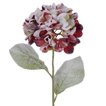 Hydrangea en soie rouge finition neige H66cm