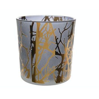 Photophore en verre sablé bleu et décor arbre doré H8cm