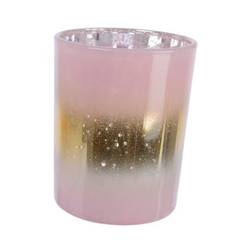 Photophore en verre rose ligne dorée H12cm
