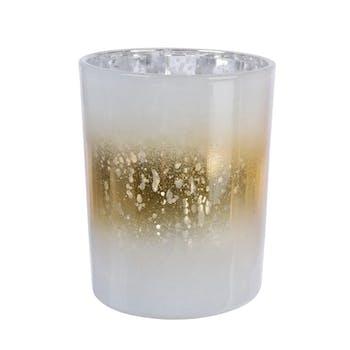 Photophore en verre blanc ligne dorée H12cm