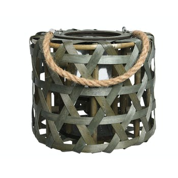 Lanterne en peuplier avec anse en corde vert H21cm